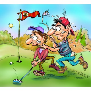 Profgolfer & caddy